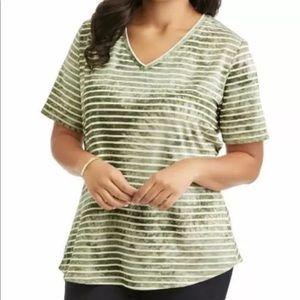 Terra & Sky Green Striped T-Shirt plus  Size new